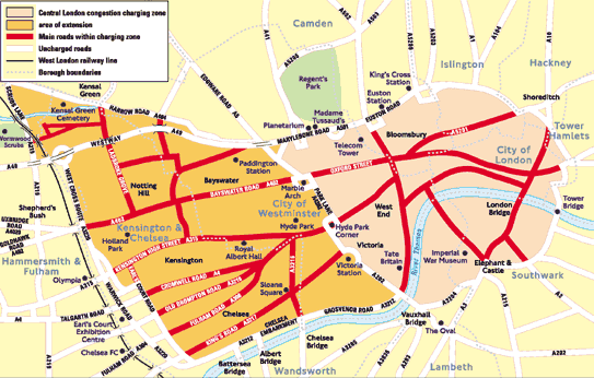 London Congestion Charge - Full Zone including the Western Extension